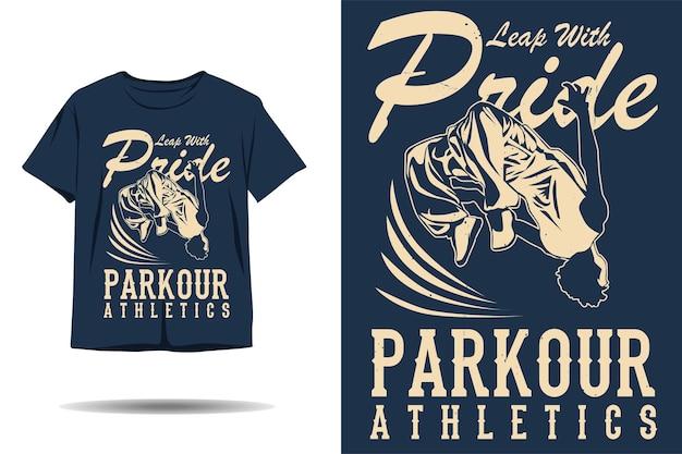 Sautez avec la conception de t-shirt silhouette d'athlétisme parkour de fierté