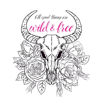 Sauvage et libre. crâne d'animal vintage avec des cornes et des roses roses. illustration dessinée à la main