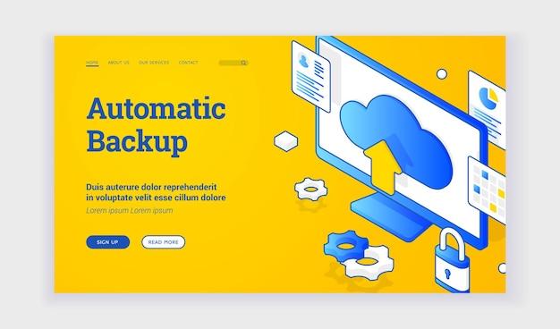 Sauvegarde automatique. illustration vectorielle isométrique d'un écran d'ordinateur avec signe de stockage en nuage représenté sur la bannière publicitaire pour la technologie de sauvegarde automatique. bannière web, modèle de page de destination