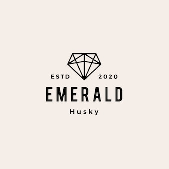 Sauvegarde de l'illustration d'icône logo vintage hipster gemme émeraude