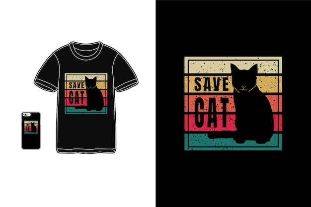 Sauver le chat, typhographie t-shirt