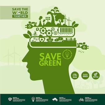 Sauver le monde ensemble écologie verte.