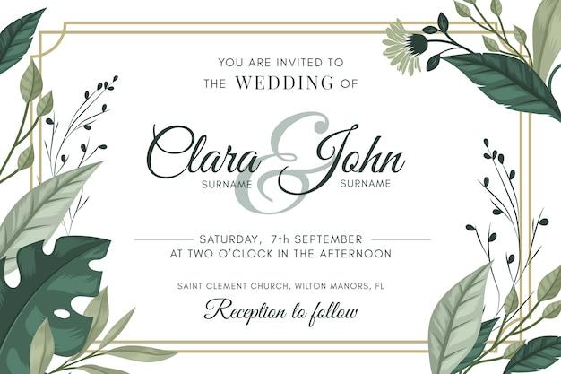 Sauver naturel l'invitation de mariage de date