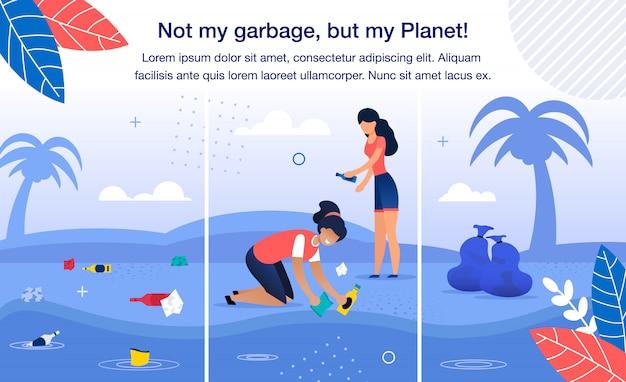 Sauver la planète de la bannière de déchets en plastique