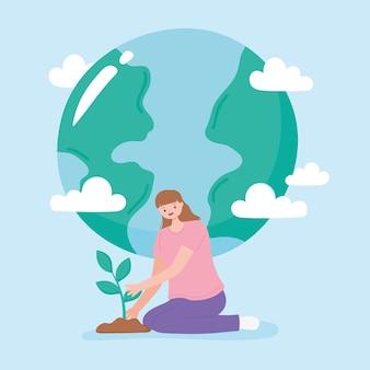 Sauver la planète, la plantation de jeune femme et la terre carte nuages illustration de dessin animé