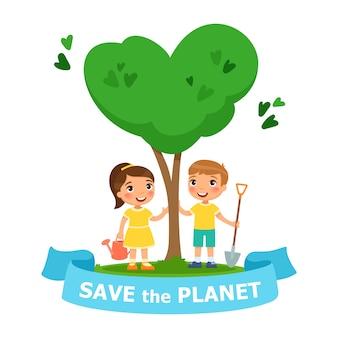 Sauver le vecteur planète illustration