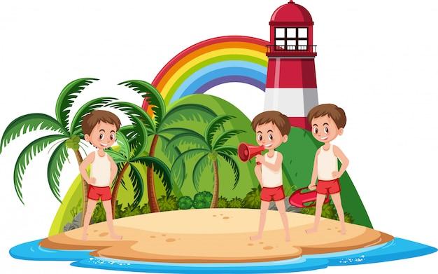 Sauveteurs de dessin animé sur l'île tropicale et arc-en-ciel sur blanc