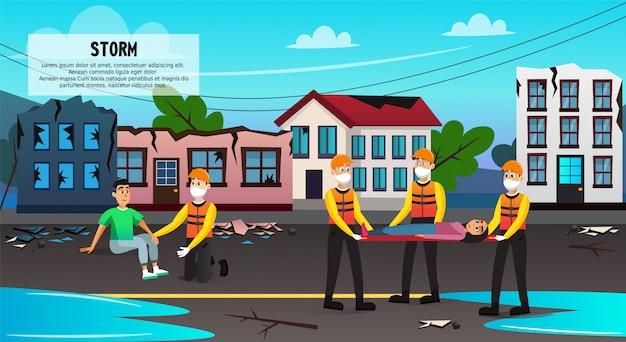 Les sauveteurs évacuent les gens des bâtiments détruits.