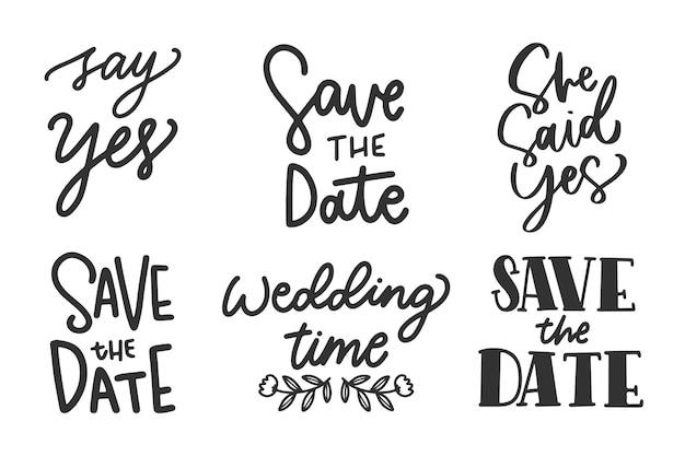 Sauvez la calligraphie de mariage de date