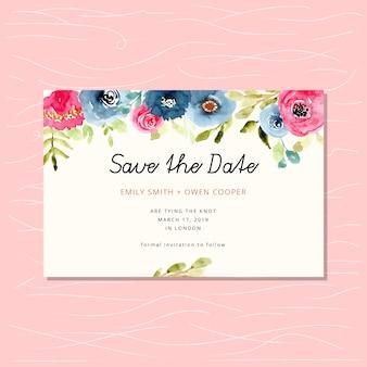Sauvez La Carte De Date Avec La Bordure Florale Aquarelle Vecteur Premium