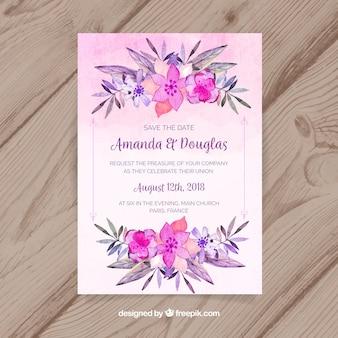 Sauvez la carte de date avec des fleurs aquarelles
