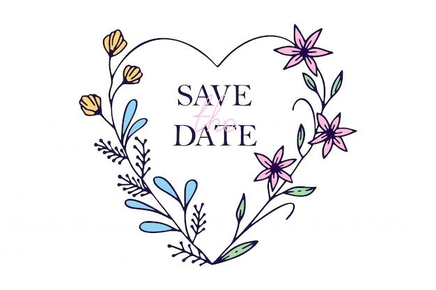 Sauvez les coeurs dessinés à la main avec des fleurs stylisées