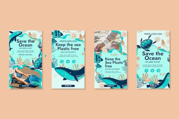 Sauvez la collection d'histoires instagram de l'océan