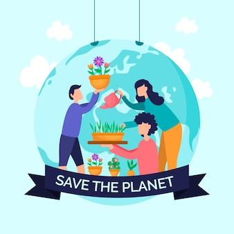 Sauvez le concept d'illustration de la planète