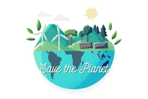 Sauvez le concept de planète illustré avec un globe terrestre