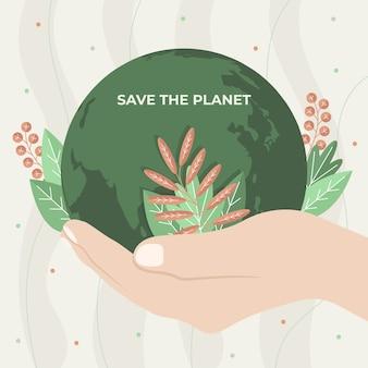 Sauvez le concept de planète avec la main