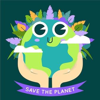 Sauvez le concept de planète avec une terre mignonne