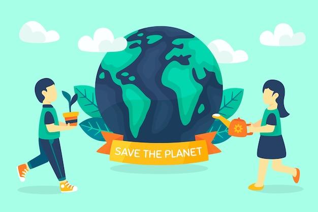 Sauvez le concept de planète terre et ruban