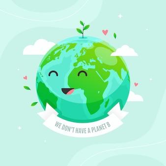 Sauvez le concept de la planète avec une terre souriante mignonne