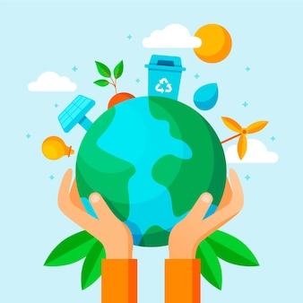 Sauvez la conception d'illustration de la planète