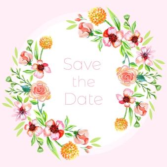 Sauvez la date riche fond floral d'aquarelle