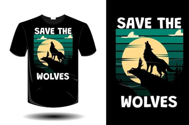 Sauvez le design vintage rétro de la maquette des loups
