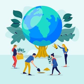 Sauvez l'illustration du concept de planète