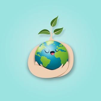 Sauvez le monde et le style artistique du concept écologique