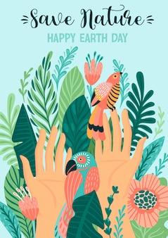 Sauvez la nature. carte de voeux jour de la terre