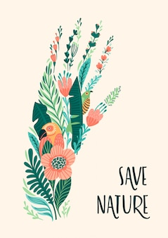 Sauvez la nature. illustration vectorielle