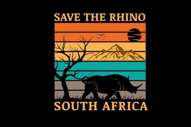 Sauvez le rhinocéros afrique du sud couleur jaune orange et vert