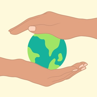 Sauvez le symbole de l'icône du globe terrestre pour sauver l'illustration vectorielle plane du monde