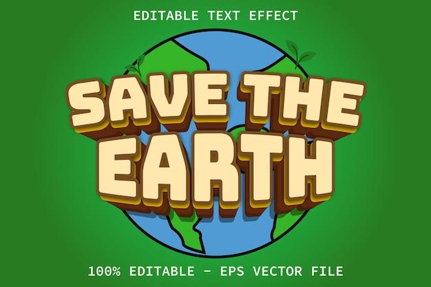 Sauvez la terre avec un effet de texte modifiable de style dessin animé
