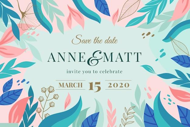 Save naturel le modèle d'invitation de mariage date