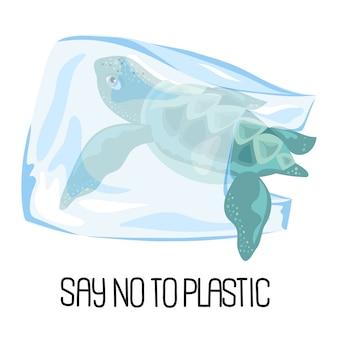 Save sea problème écologique bannière vecteur