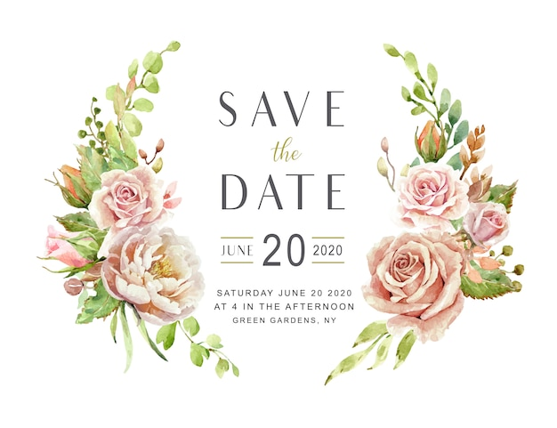 Save the date card roses aquarelles