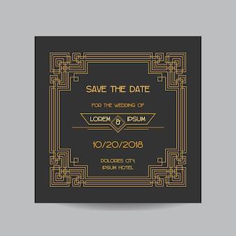 Save the date - carte d'invitation de mariage - style vintage art déco