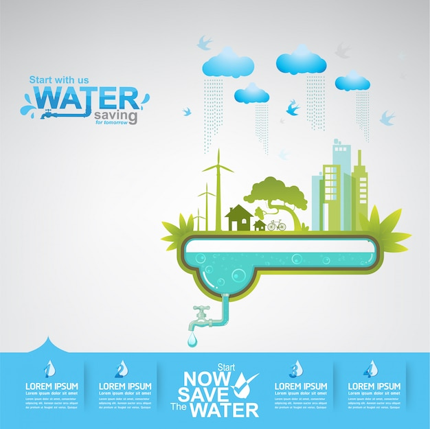 Save the water concept l'eau, c'est la vie