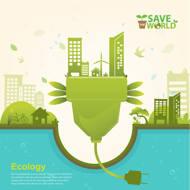 Save the world ecology concept