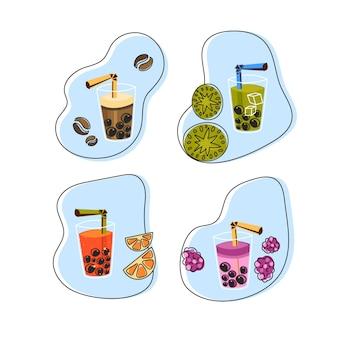 Saveurs de thé à bulles dessinées à la main