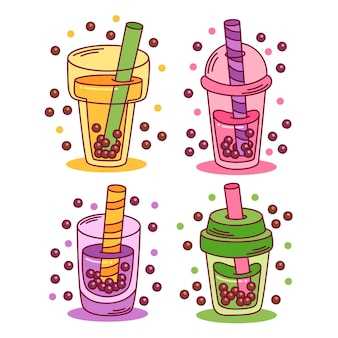 Saveurs de thé à bulles de style dessiné à la main