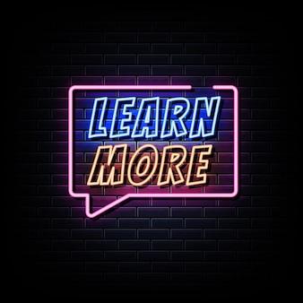 En savoir plus texte de style d'enseignes au néon