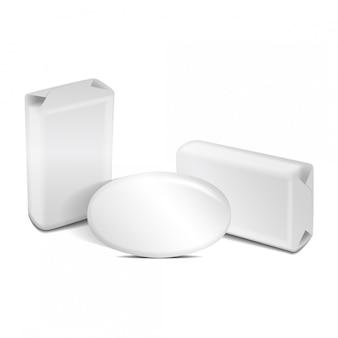 Savon blanc en feuille blanche ou en carton.