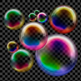 Savon à bulles transparent. sphère de vecteur.