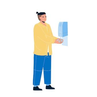 Savon désinfectant d'hygiène pour le lavage des mains vecteur. homme utilisant un gel d'alcool antibactérien pour l'hygiène. le personnage empêche la propagation des germes, des bactéries et évite l'infection par le virus corona illustration de dessin animé plat