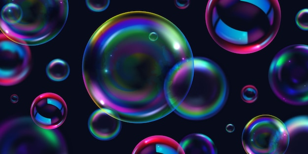 Savon fond clair bulles réalistes