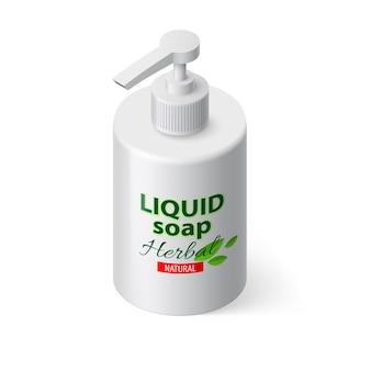 Savon liquide en bouteille blanche de style isométrique