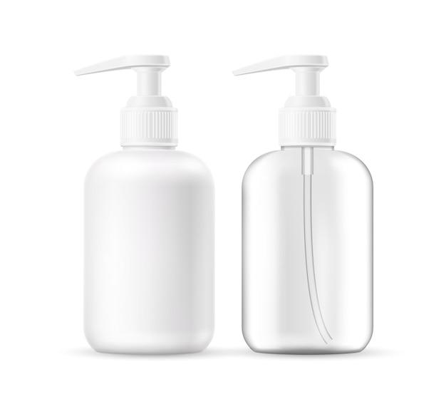 Savon liquide réaliste de vecteur, bouteille de lotion en mousse