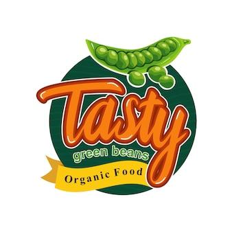 Savoureux repas santé avec insigne d'emblème de haricot vert