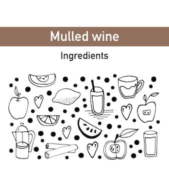 Savoureux vecteur dessiné à la main avec du vin chaud et des ingrédients. ensemble de griffonnage pour la conception d'hiver